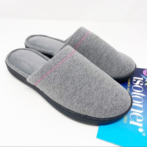 NWT ISOTONER Gray Jersey Memory-Foam Slippers XL